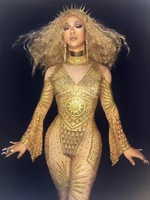 Stylish Star Beyonce Stage Costume Glisten Gold Rhinestones Sexy Jumpsuit Full Crystals Stage Wear Clothing Evening Party Outfit