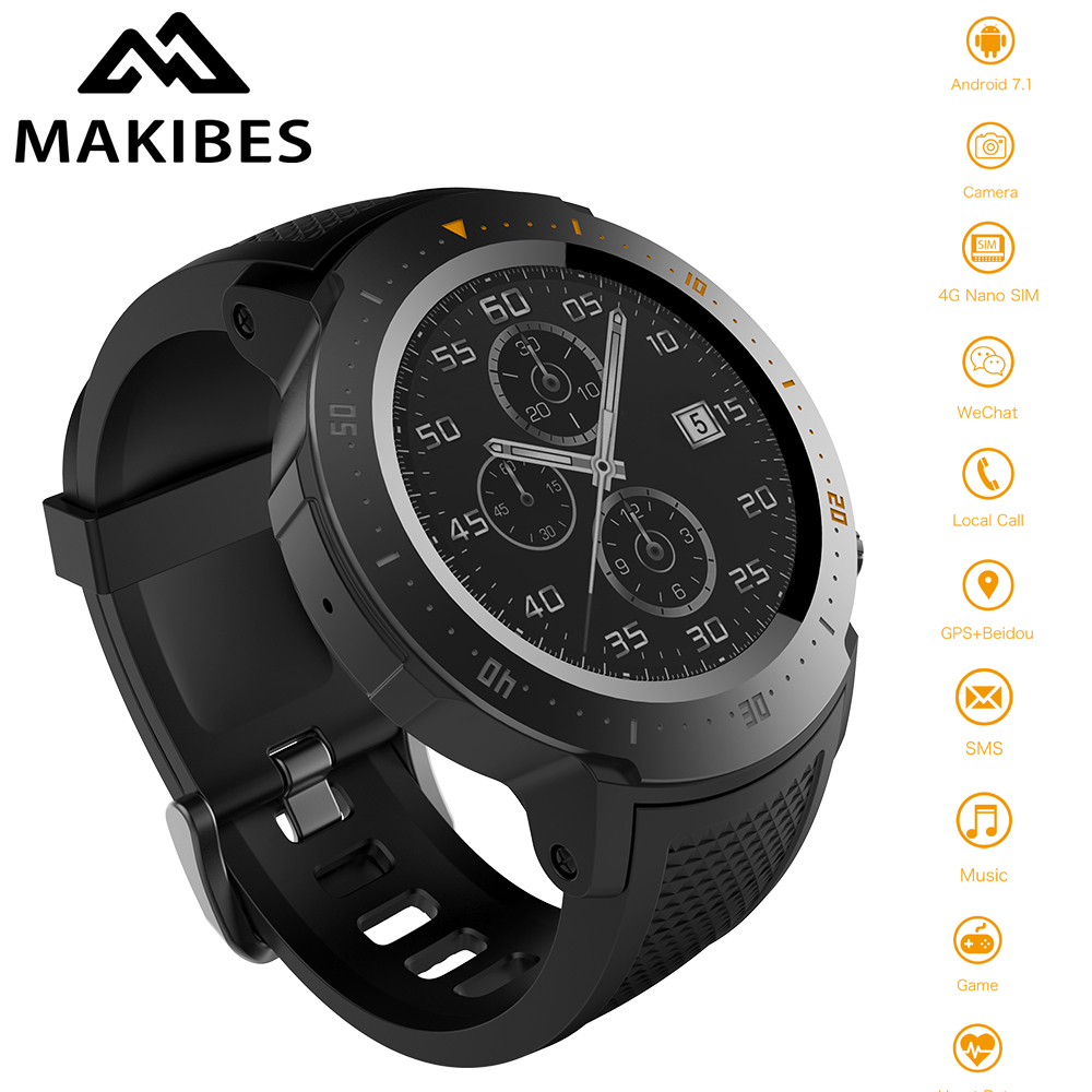 MAKIBES A4 4G 530 mAh 1 + 16 GB Étanche jeu musique montres intelligentes Sport montre gps pour téléphone Podomètre Smartwatch Pour MI8 IOS android