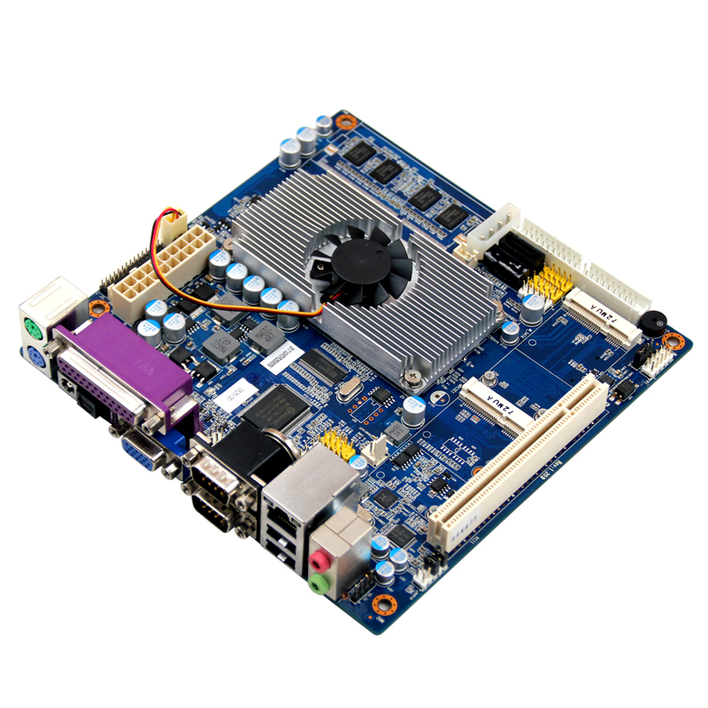 Embedded Mini itx motherboard onboard 2GB memory with Intel Atom D525 CPU support LVDS+VGA dual display