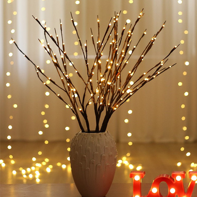 Led Willow Branch Lamp Battery Ed Decorative Lights Tall Vase Filler Twig Lighted For Home Decoration