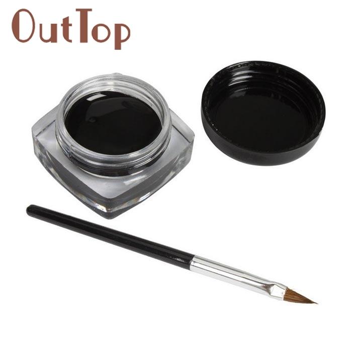#15 1x Eyeliner Gel Cream With Brush Makeup Black Waterproof Eye Liner DEC29
