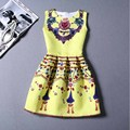 9 Colors Casual Print Dress New 2016 Fashion Printing Sleeveless Vest Dress Vestidos Vintage Woman tutu Short Dresses LW071