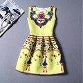 9 colores de impresión ocasional vestido nueva moda 2016 impresión sin mangas del chaleco del vestido Vestidos Vintage mujer tutu Vestidos cortos LW071