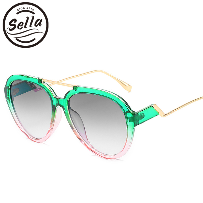 Sella New Arrival Fashion Women Men Oversized Pilot Sunglasses Candy Color Gradient Frame Green Orange Purple Glasses Shade