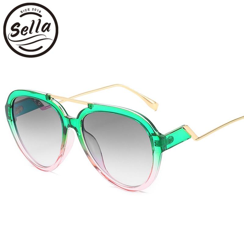 Sella New Arrival Fashion Women Men Oversized Pilot Sunglasses Candy Color Gradient Frame Green Orange Purple Glasses Shade