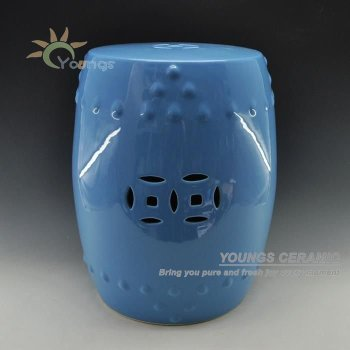 High Temperatured Blue Glazed Chinese Ceramic Garden Stool Seat