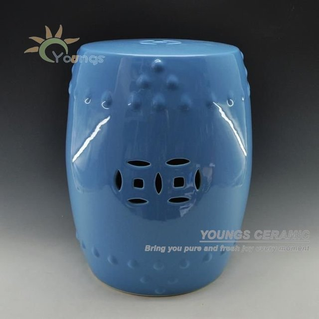 Charmant High Temperatured Blue Glazed Chinese Ceramic Garden Stool Seat