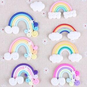 Image 1 - 9 Stks/pak Kleur Willekeurige Mooie Regenboog Wolken Cupcake Cake Topper Cake Vlaggen Dessert Bakken Decoratie Voor Bruiloft Verjaardag