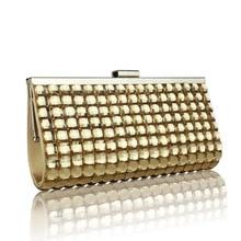 Luxus Damen Gold Kupplung Geldbörse Mode Metall Patchwork Designer Frauen Abendtaschen Brauttasche Hochzeit Tasche SMYCYX-E0074