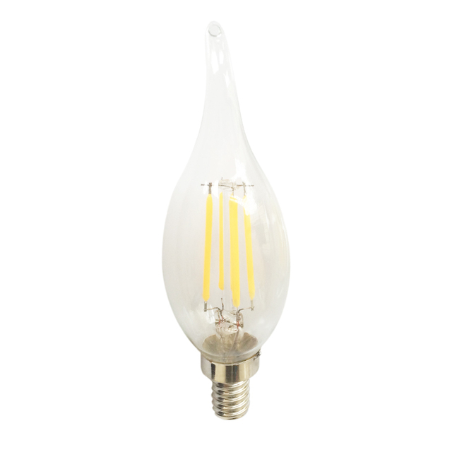 New E12 4W COB LED Lamp Filament Glass Housing Blub AC110V Light Retro Candle pointed/bent-tail Lighting dimmable 10pc/lot