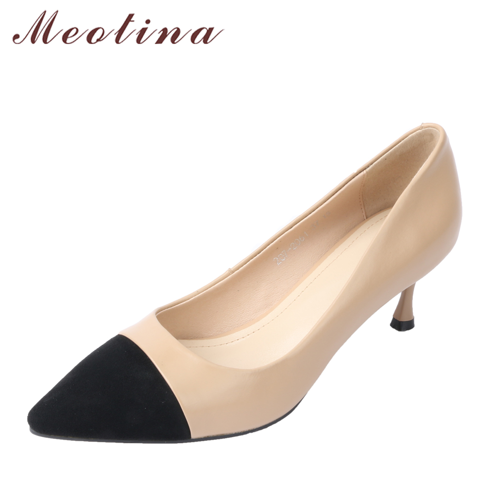 158fb2d4a7 Meotina Genuine Leather Women Pumps High Heels Office Lady Shoes Pointed  Toe Kitten Heel Shoes 2018 Work Shoes New Big Size 40