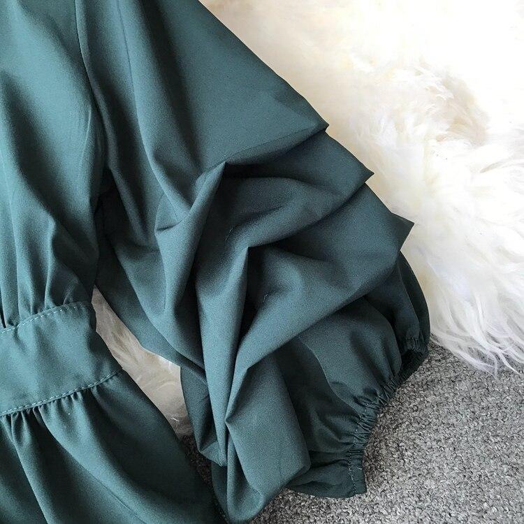 2109 Spring Women V-neck Puff Sleeves Blouse Slim Tunic Tops Retro Vintage Pullovers Busos Para Mujer Kimonos 104