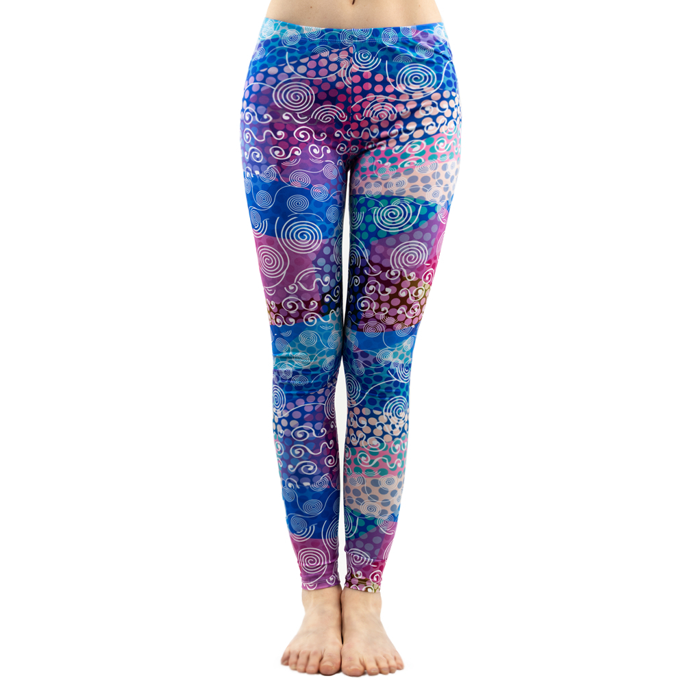 Fashion Women Colorful Dot Print Stitching Pattern   Leggings   Fitness Stretch Slim Bottoms Sexy Workout Elasticity Pants