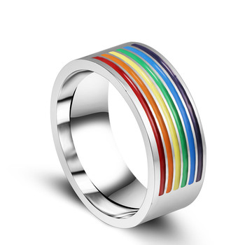ZMZY nouvelle bague arc-en-ciel pour hommes 316L anneaux de mariage en acier inoxydable pour les femmes 8MM de large Gay Pride bijoux LGBT