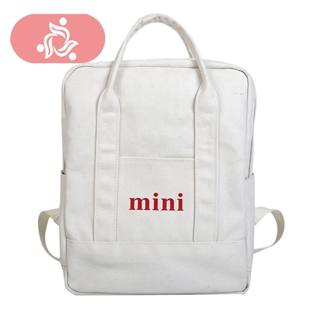 a64413347010 MINI Letters Canvas Backpack Black Women White Backpacks For Teenagers  Women s Travel Bags Mochilas Square Rucksack School Bags