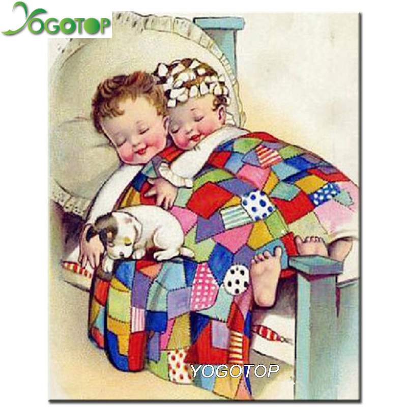 YOGOTOP 5D DIY Diamond Embroidery Two children bed Square Rhinestone Sets 5D Diamond Painting Cross Stitch Needlework ZB677