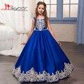 2017 Azul Royal Floristas Vestidos para Casamentos com Ouro Apliques de Renda Das Meninas Pageant Vestidos Vestido de Primeira Comunhão