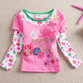 ENVÍO GRATIS New Kids NEAT 100% algodón con estampado bordado libélula hermosa flores de manga larga T-shirt for girl L318 #