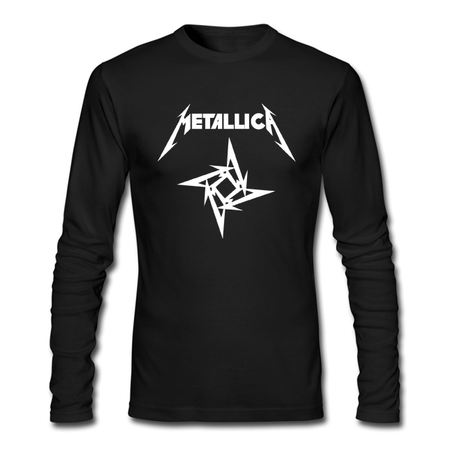 Merry christmas men 39 s metallica printed long sleeve t for Mens printed long sleeve shirts