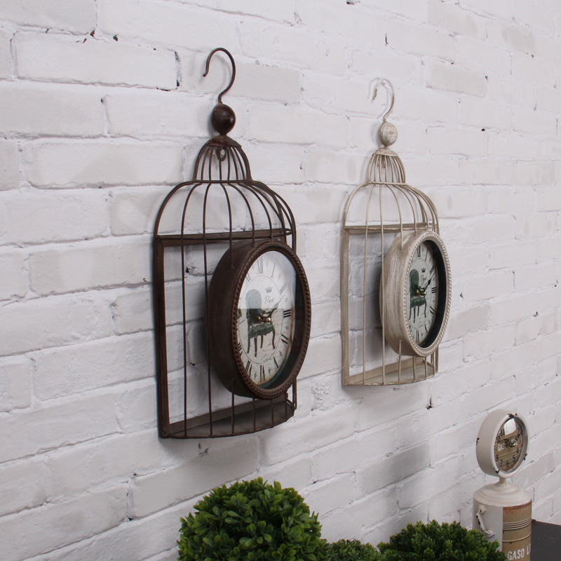 Fashion vintage bird cage iron muons clock wall decoration antique clock wall clock three-dimensional muons
