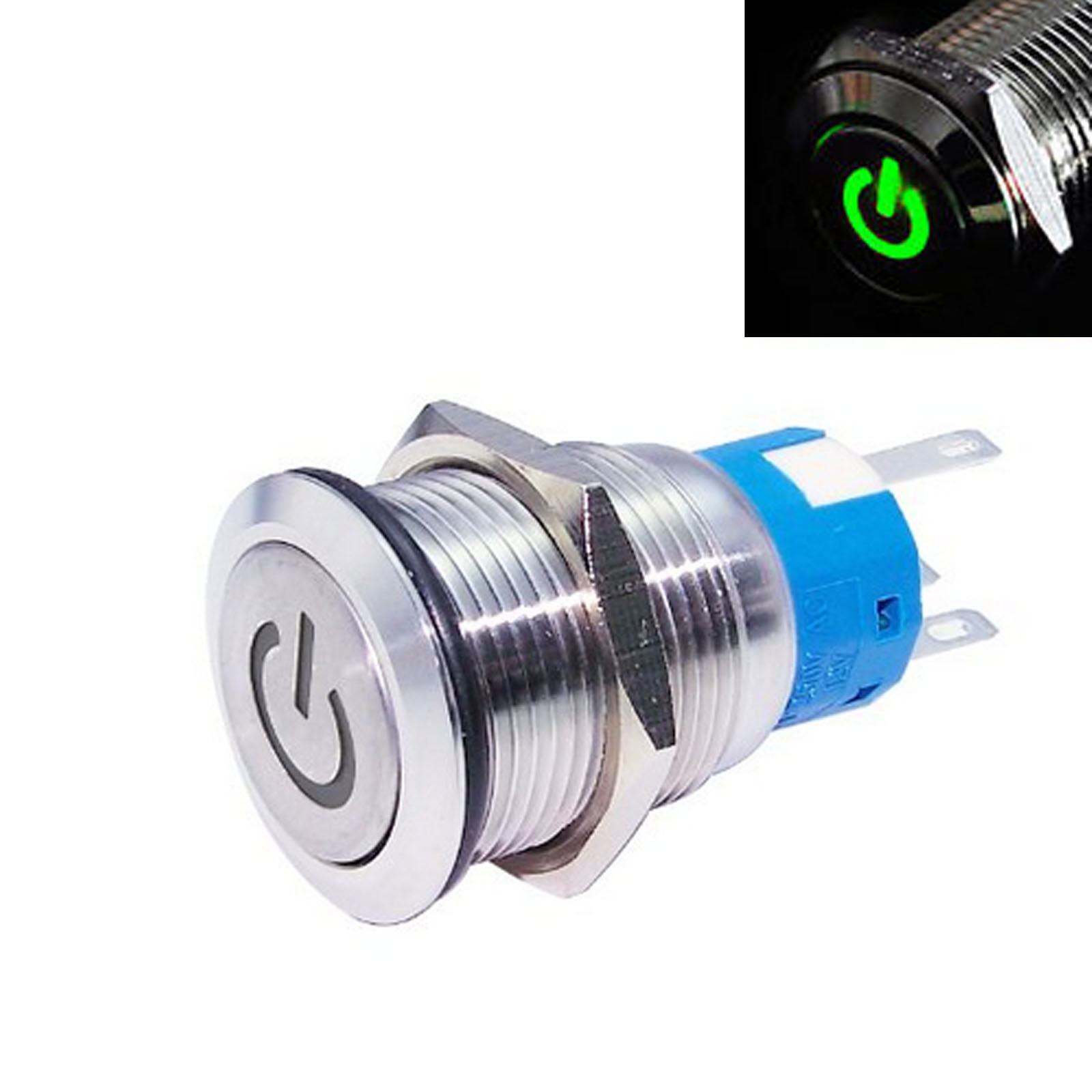 19mm 12V Car LED Power Momentary Push Button Metal ON//OFF Switch Latching NEW YO