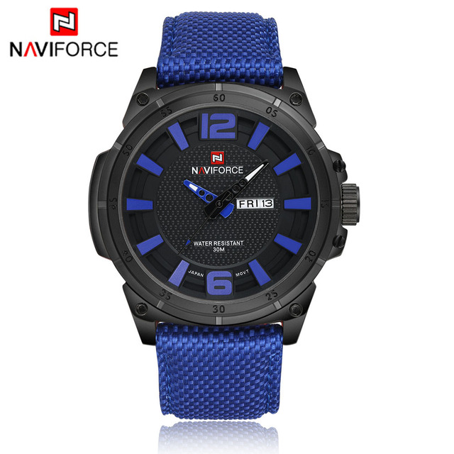 NAVIFORCE Male Watch Sports Watch Mens Watches Top Brand Luxury Man 3D Dial Colok Quartz-watch Army Military Nylon Wristwatches