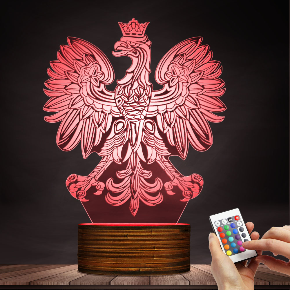 Polish Coat Of Arms Polska 3D Optical Illusion USB Light