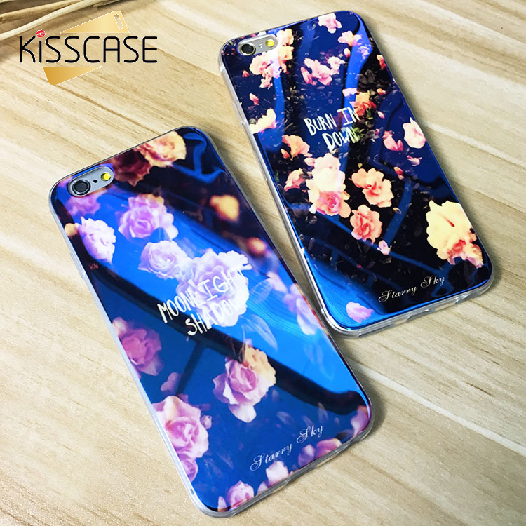 KISSCASE Soft TPU Case For iPhone 6 6s 7 Plus Cute Blue Light Silicon Back Cover Ultra Thin Blue Ray Case For iPhone 6 6s 5 5s