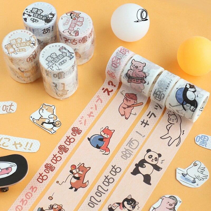 Mohamm Fat Pet Sports Meeting Series Set Kawaii Planner Handbook Decorative Paper Washi Masking Tape School Supplies Stationery