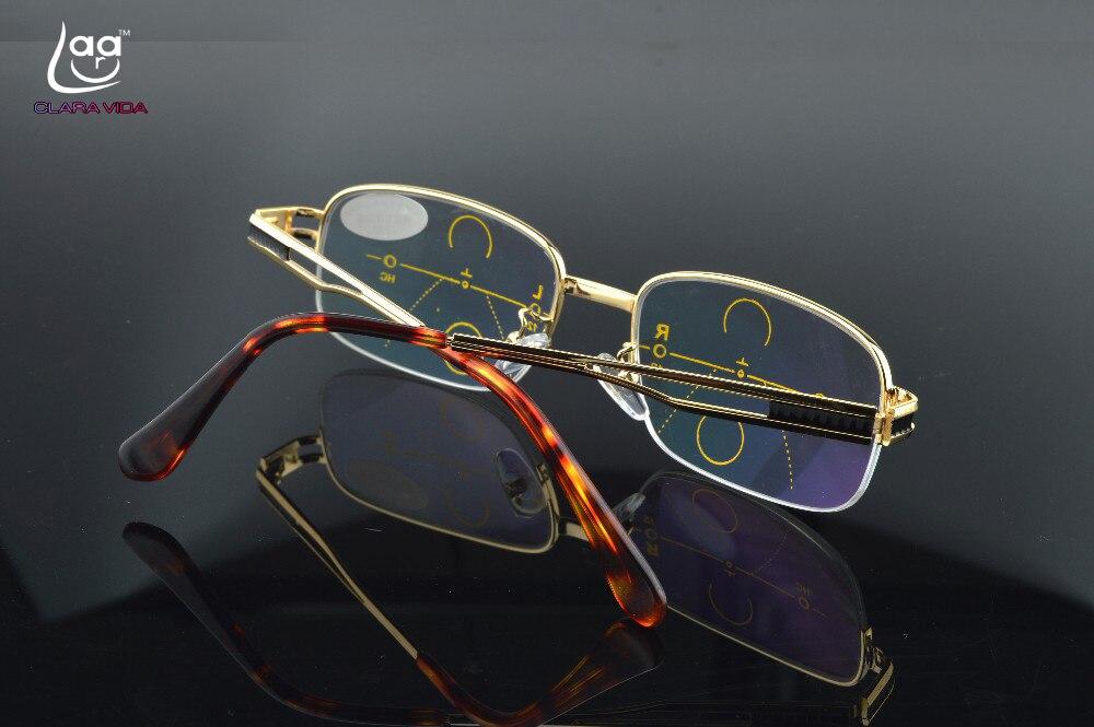 d5c16ca8e6 CLARA VIDA Oro Multifocal Progresiva gafas de lectura de oro para hombre  ver cerca de lejos