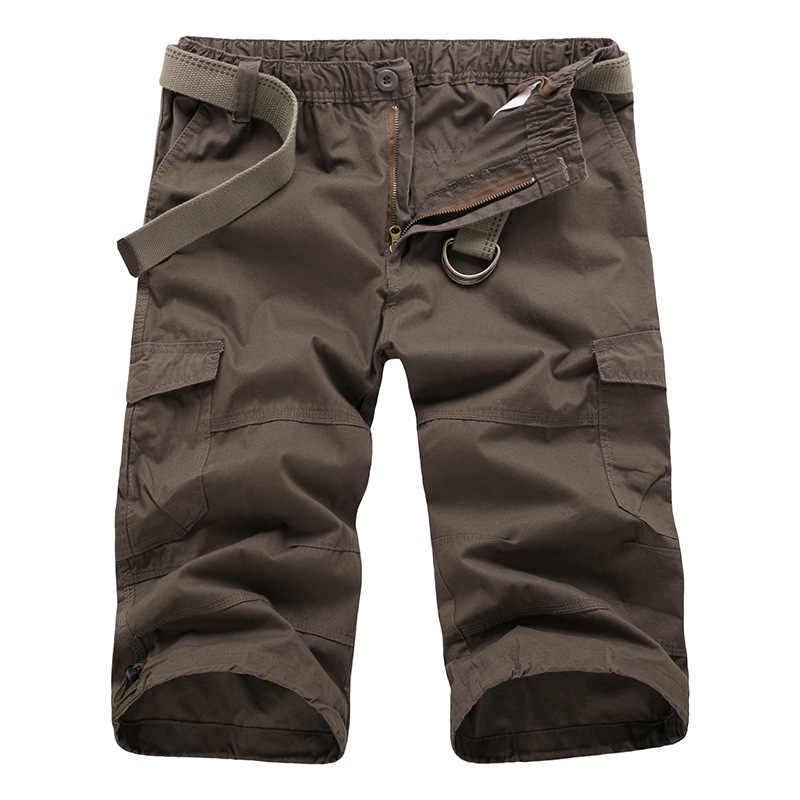 Große Größe M-XXXL Herren Baggy Cargo-Shorts Lose Fit Elastischer Bund Mann Lässig Military Workout Shorts Strand Board Keine Gürtel