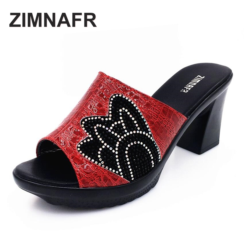 ZIMNAFR BRAND 2017 summer diamond soft women slippers rough high heel comfrotable female waterproof table anti-skid slippers