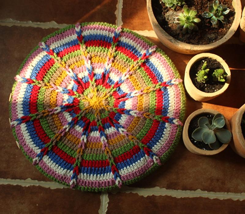 Multi Colour Round Handmade Sofa Mat Seat Cushion for Chair Outdoor Tea Ceremony Hand Hooked Decoration Crochet Blanket Felt