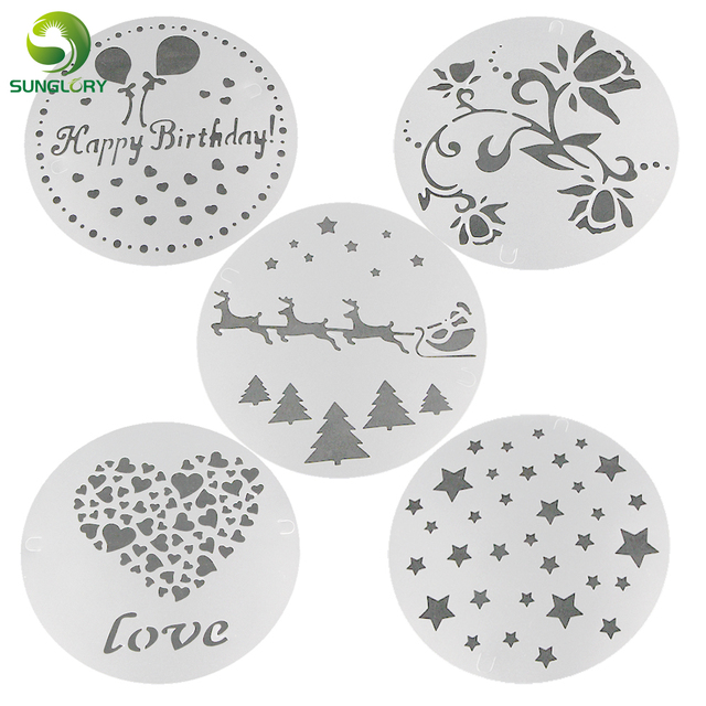 5PCS Flower Cake Stencil Christmas Decoration Fondant Cookie Stencil