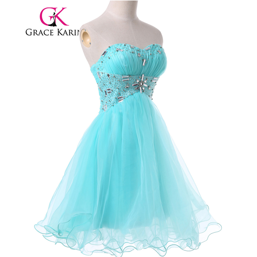 Grace Karin Short Prom Dresses Pale Turquoise Voile Satin Knee ...