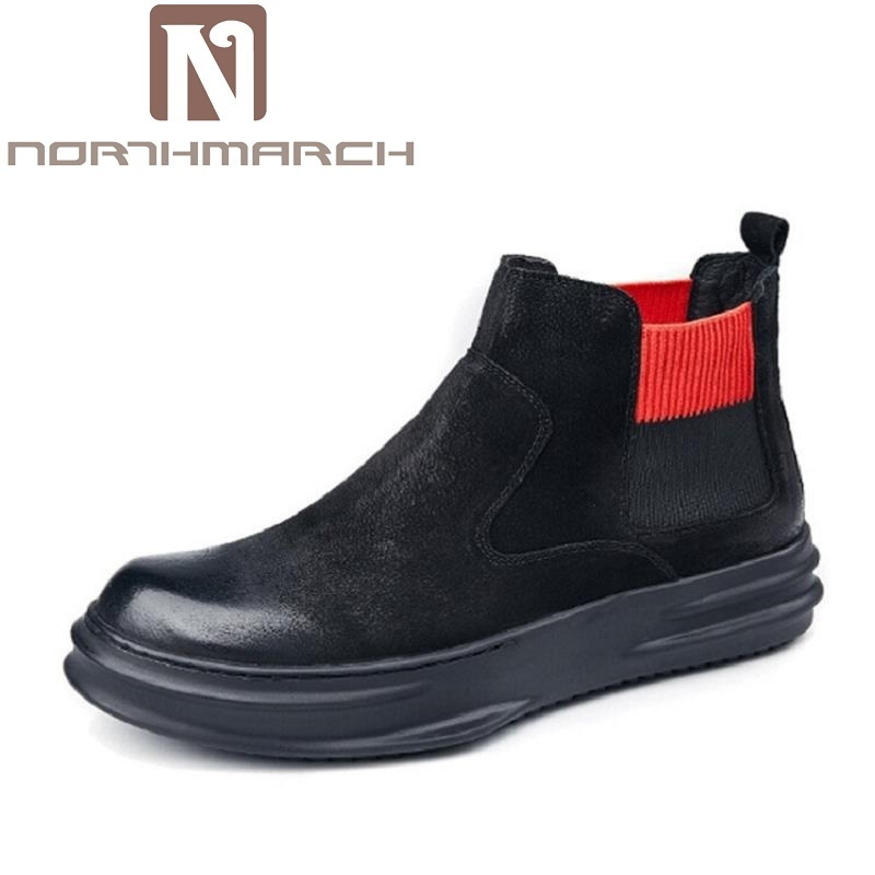 NORTHMARCH New Winter Men Boots High Quality Genuine Leather Men Ankle Shoes Men British Style Motorcycle Boots Botines Hombre maden 2017 new fashion designer men leather casual shoes high quality zapatillas deportivas hombre british style summer shoes