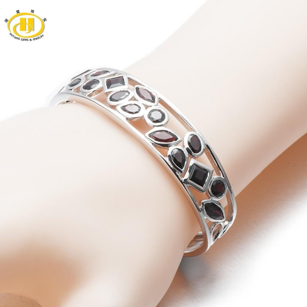 Hutang 10 21Ct Natural Black Garnet Bangle Bracelet Solid 925 Sterling Silver Real Gemstone Fine Stone