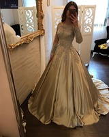 BRITNRY Charming Gold Satin Wedding Dress Boat Neck Sexy Lace with Beading Long Sleeve Wedding Dress Plus Size