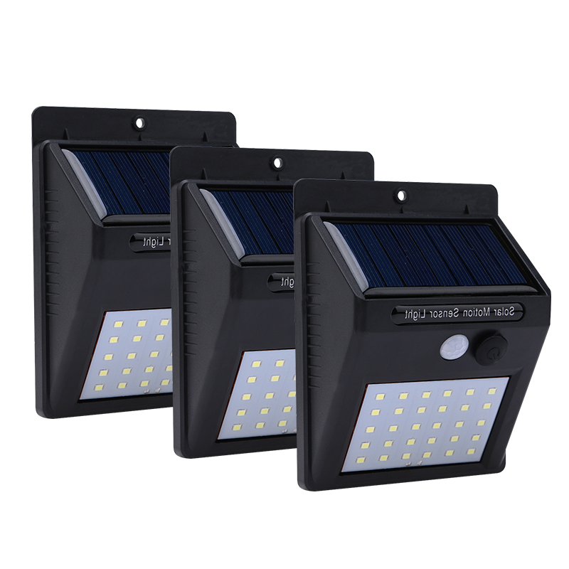 3pcs Solar Light Recharge 30 Leds PIR Motion Sensor Solar Lamp Waterproof Security Wall Light for Outdoor Garden Decoration