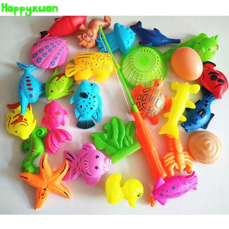 Happyxuan 27pcs/set Funny Magnetic Fishing Play Kids Game 1 Poles 1 Net 25 Plastic Magnet Fish Indoor Outdoor Fun Bath Toy