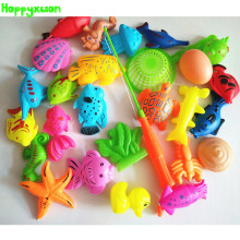 Happyxuan 27pcs/set Funny Magnetic Fishing Play Kids Game 1 Poles 1 Net 25 Plastic Magnet Fish Indoor Outdoor Fun Bath Toy