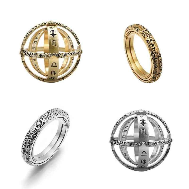 ดาราศาสตร์ Sphere Ball แหวน Cosmic แหวนนิ้วมือแฟชั่นเครื่องประดับคู่
