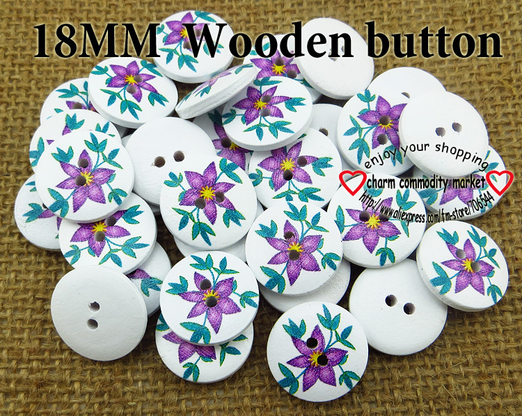 100PCS 18MM purple flower painting wooden buttons sewing clothes boots coat accessories MCB-685