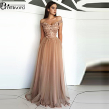 Champagne Muslim Evening Dress 2019 A-Line Flowers Tulle Off Shoulder Dubai Saudi Arabic Long Gown Prom Dresses