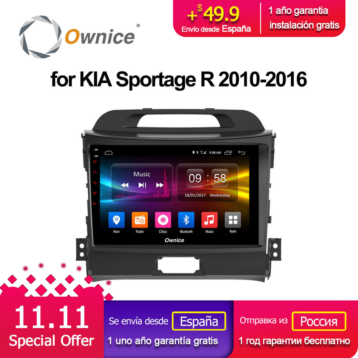 Ownice C500+ G10 Android 8.1 car radio gps navi player dvd for kia Sportage 2010 2011 2012 2013 2014 2015 8 core 2GB RAM ownice c500 4g sim lte octa 8 core android 6 0 for kia ceed 2013 2015 car dvd player gps navi radio wifi 4g bt 2gb ram 32g rom
