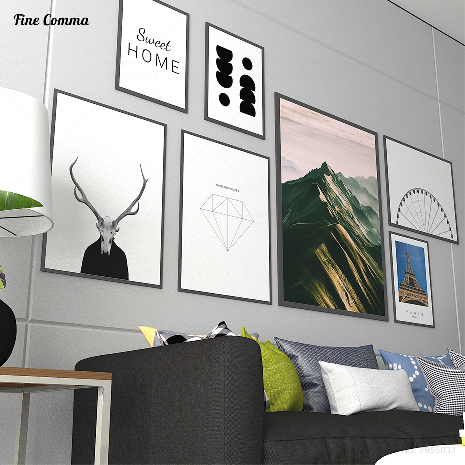 Scandinavian Decor Sweet Home Diamond Nordic Art Decor Posters and ...