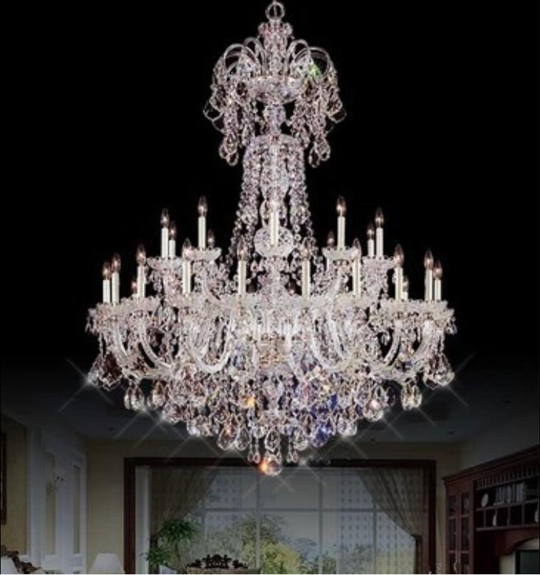 30 heads Modern European candle led crystal droplight restaurant bedroom lamps and lanterns