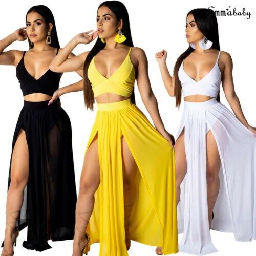 Women Dress 2019 Summer Beach Deep V Party Dress Maxi Long Skirt Crop Top Two Piece Set Club Party Wear Beach Sunsuit Plus Size