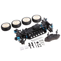 1/10 4WD Electric On Road Drift Racing Car Frame Kit Chassis Combo & 4pcs Rubber Tyre Wheels RC Car Model Part Accessories Set