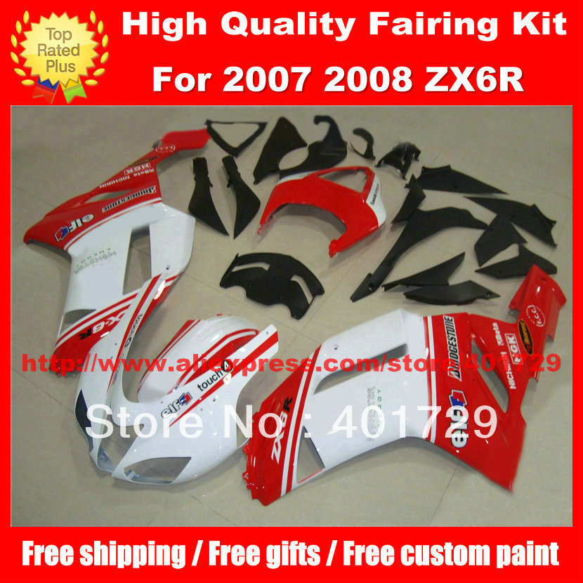 Mélanger couleur racing moto carénage pour Kawasaki Ninja ZX6R 2007 2008 ZX 6R 07 08 ZX6R 07 08 cadeaux gratuits carrosserie ensemble